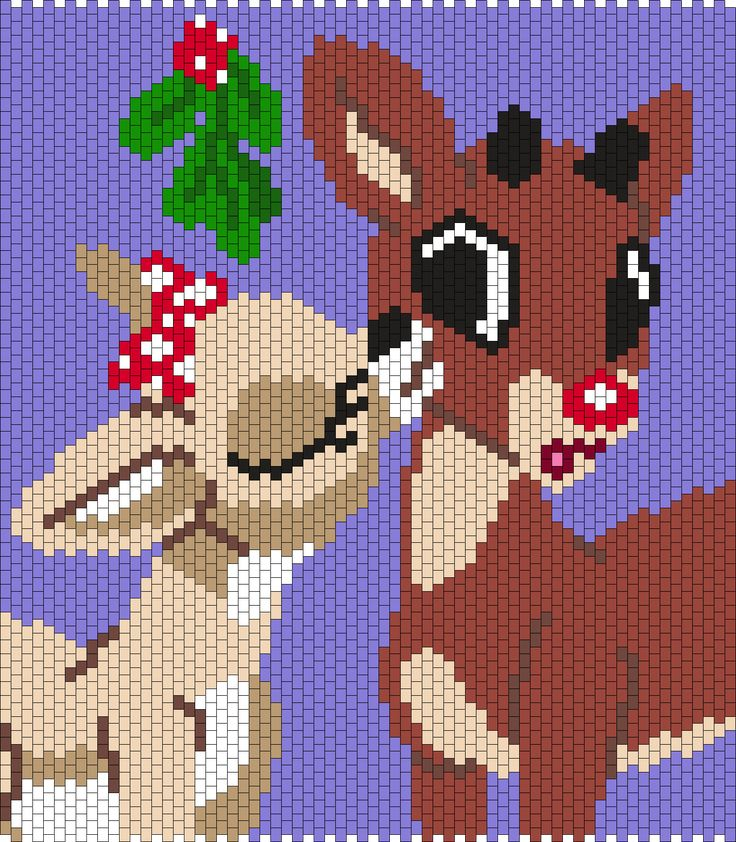 Rudolph The Red Nosed Reindeer And Clarice by Maninthebook on Kandi Patterns