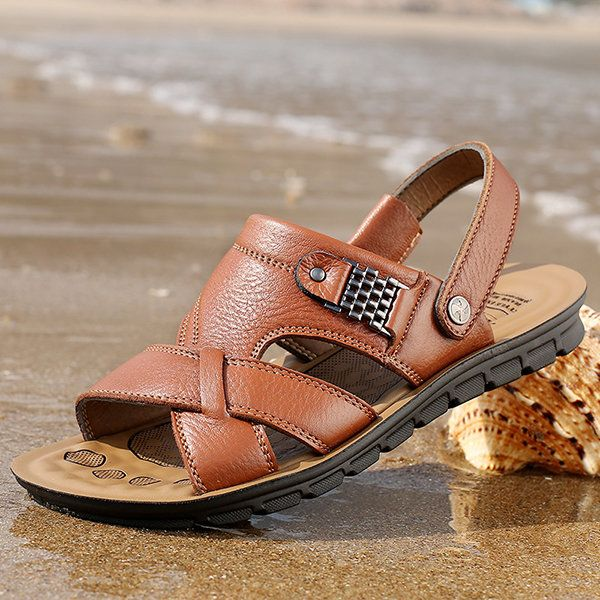 US Size 6.5-11.5 Men Genuine Leather Flat Sandals Beach Slippers Shoes - US$27.58