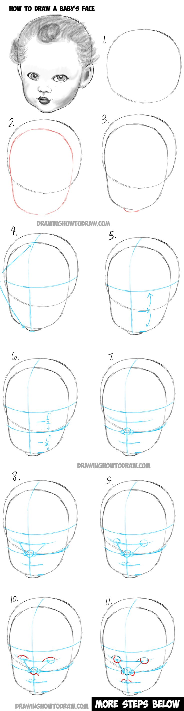 Learn How To Draw A Baby's Face : Drawing Infant Faces With Step By Step  Drawing