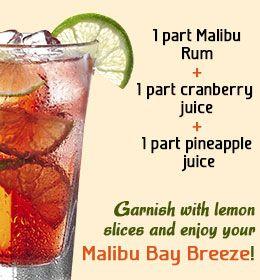 Recipe to make Malibu bay breeze cocktail