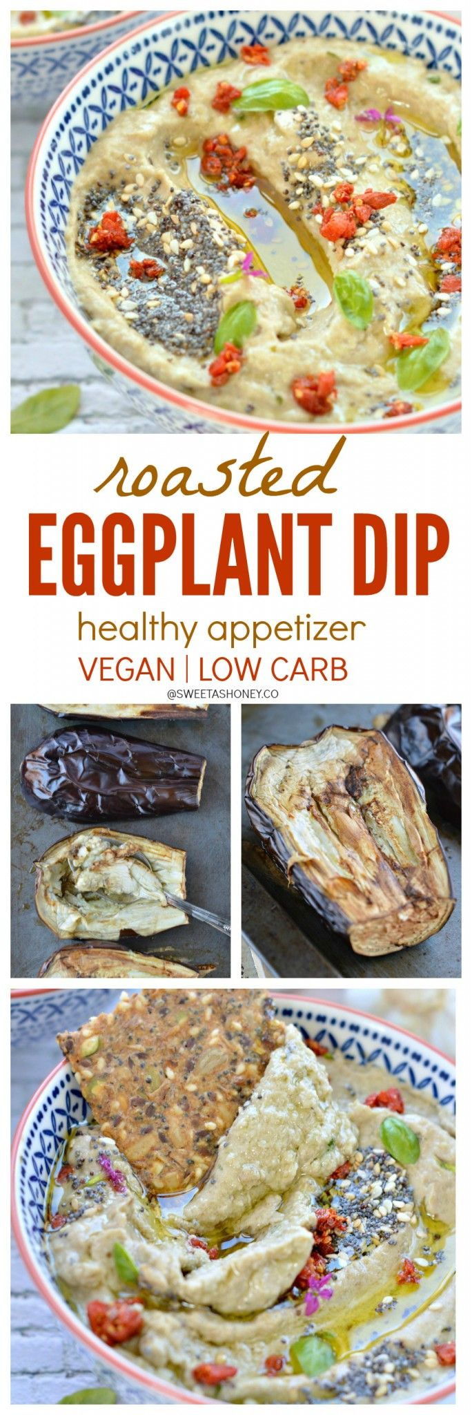Healthy Roasted Eggplant Dip with basil. A vegan dip perfect as an easy party…