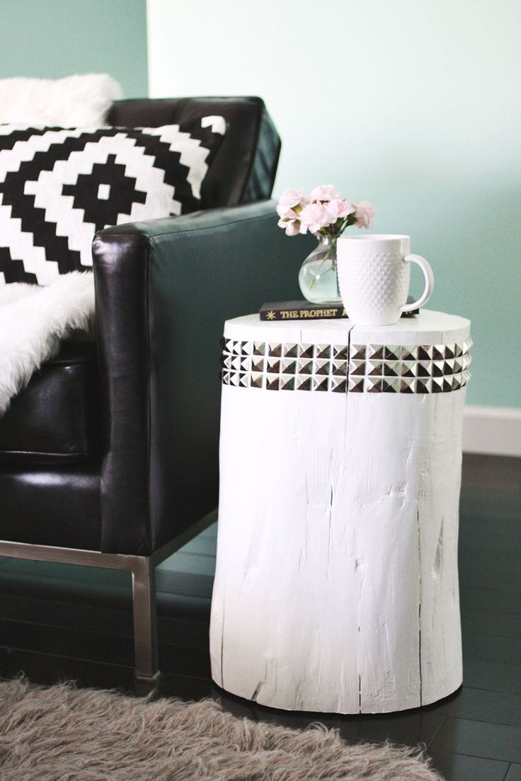 DIY Studded Tree Stump Side Table abeautifulmess.com