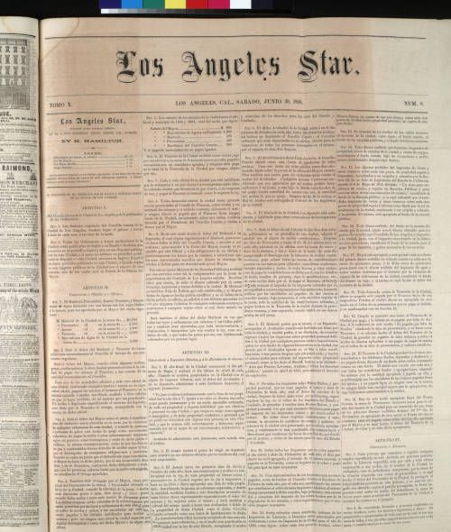 Page 1 :: Los Angeles Star, tomo 10, num. 8, Junio 30, 1862 :: Los Angeles Star Collection, 1851-1864. http://digitallibrary.usc.edu/cdm/ref/collection/p15799coll68/id/1527