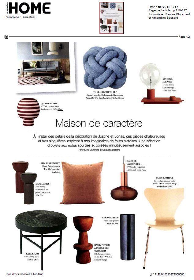 Beautiful AYTM Varia vase, featured in Home Magazine. November-December 2017 edition!