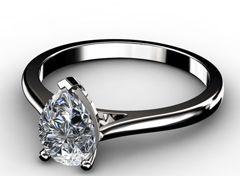 Diamant Verlobungsring Tropfen, 750er Weißgold 18 Karat