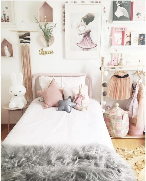 This is a gorgeous pink and grey bedroom theme! I love the wall art and the fluffy grey bed throw
