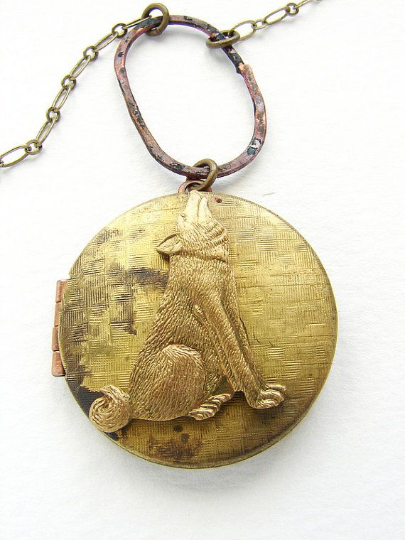 Wolf Locket Necklace -vintage locket long necklace, howling wolf necklace - shan