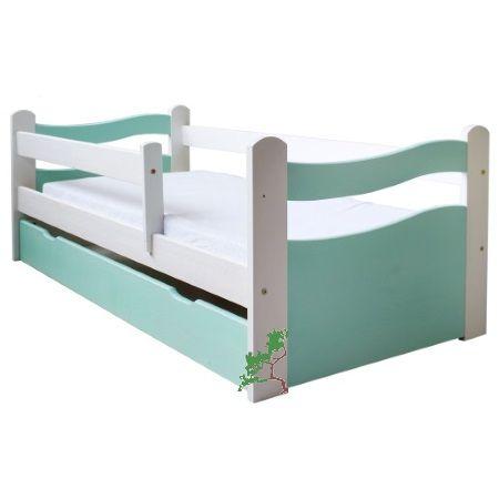 Kolorowe łóżko dziecięce z barierką i pełnymi czołami łóżka. Do wyboru dwa wymiary oraz dwa kolory.