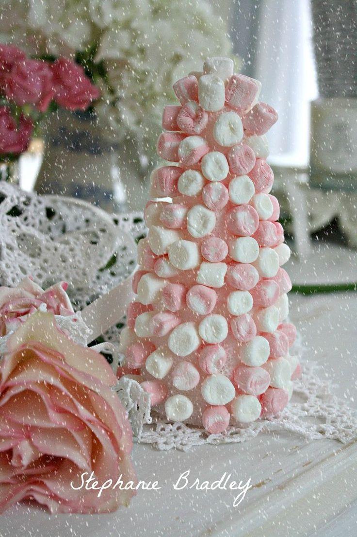 Pink & White Marshmallow Tree-marshmallows, styrofoam cone, & hot glue gun!