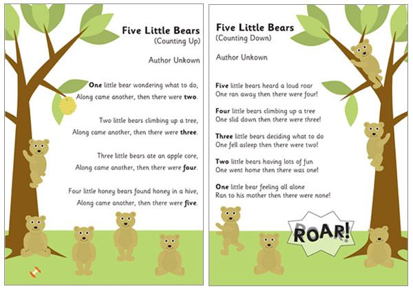 5 Little Bears Counting Rhymes - A fun Early Years poem about five bears meeting in the woods, ideal for helping children practice counting up from 1 to 5 and down from 5 to 1. The download includes a black and white version.