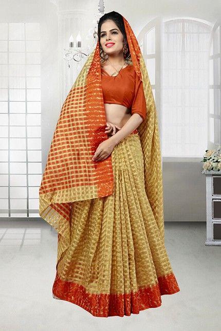 Beige Colour Banarasi Silk Saree  - 81525F