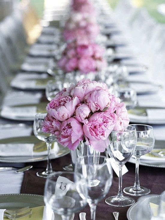 Long View of Table Settings, Pink Flower Center Pieces - Light Pink + Brown Color Scheme