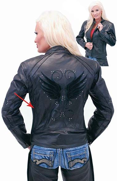 Women's Leather Motorcycle Jacket with Wings  http://www.jaminleather.com/Womens-Leather-Motorcycle-Jacket-with-Wings-P2979.aspx#