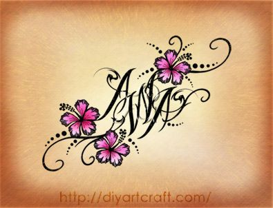 #hibiscus #tattoo #AWA....neat way to add initials. this would be great for my daugher's initials as a tattoo