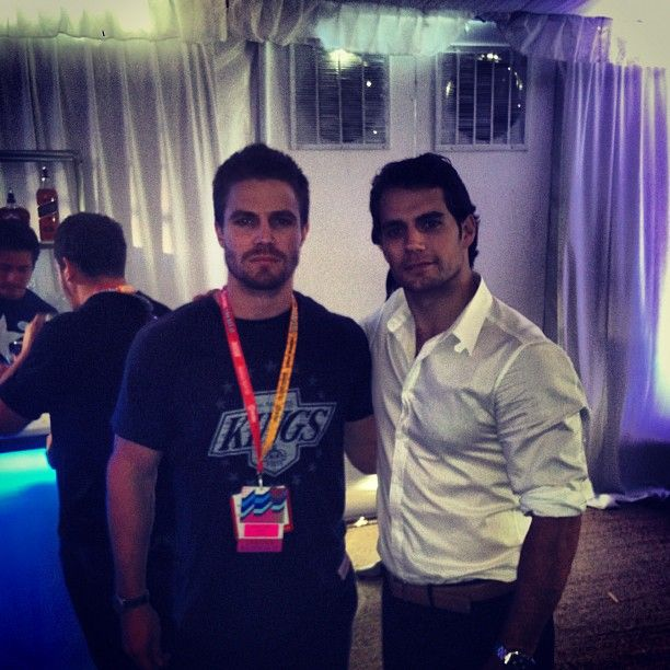 Stephen Amell and Henry Cavill, 2 of my favorite guys @ ComicCon 2012: Geek, Christian Grey, Superman, Men Of Steel, Stephen Amell, Henry Cavill, Green Arrows, Hot Actor, Hot Guys
