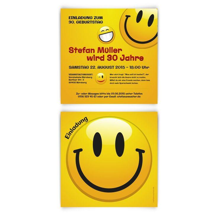 Einladungskarten Zum Geburtstag (30 Stück) Smiley Gelb Lächeln Lustige  Gesichter Witzig