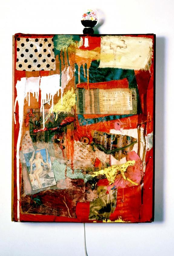 Robert Rauschenberg Untitled; 1954 Combine: oil, paper, fabric, newspaper, printed reproduction with novelty light bulb