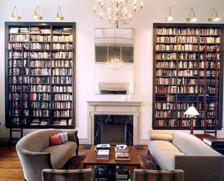 snyggt. Mörk bokhylla, stege och snygg belysning