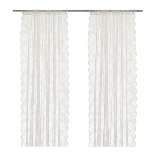 White lace curtains- IKEA- use for the ceremony