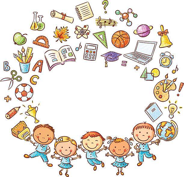 Schoolkids e escola coisas frame - ilustração de arte vetorial