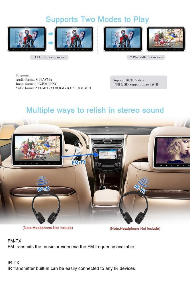 LCD Screen touch button Car Monitor with HDMI Port and Remote Control