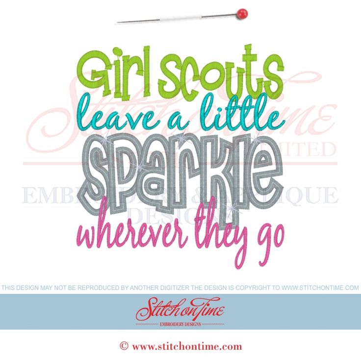 6405 Sayings : Girl Scouts Sparkle Applique 2 Hoop Sizes