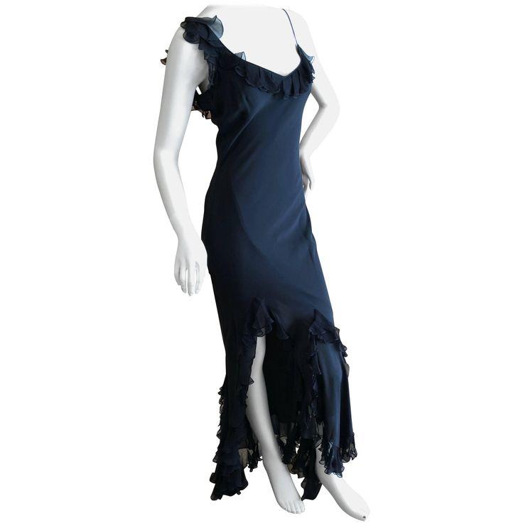 John Galliano Vintage Ruffled Flamenco Black Chiffon Dress with High Slit Sz 40