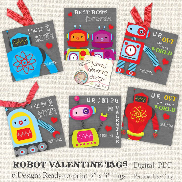 Valentine Tags For Kids Robot Valentines For Boys Or