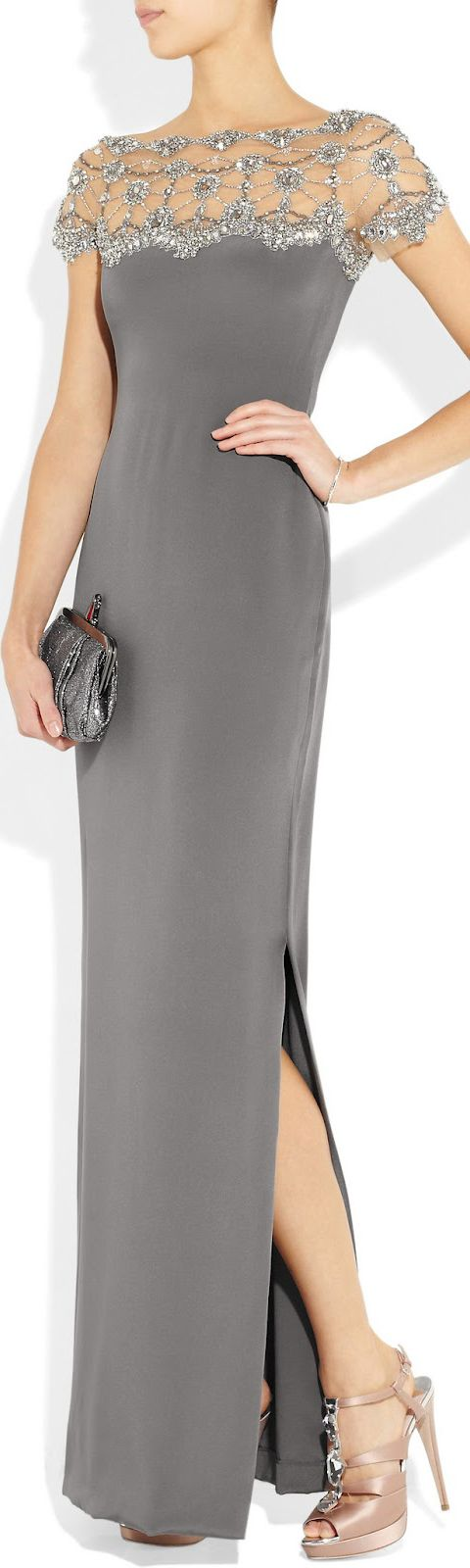 MARCHESA Crystal and bead-embellished silk-crepe gown