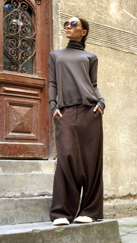NEW Collection Loose Linen Brown Harem Pants / Extravagant Drop Crotch Brown…