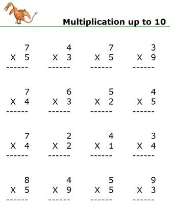 Maths multiplication worksheets for class 1