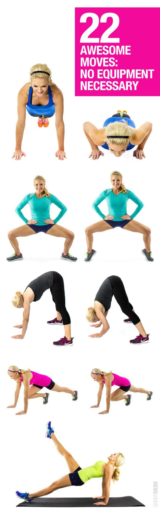 22 equipment-free exercise moves // In need of a detox? Get your teatox on with 10% off using our discount code 'Pinterest10' on www.skinnymetea.com.au X