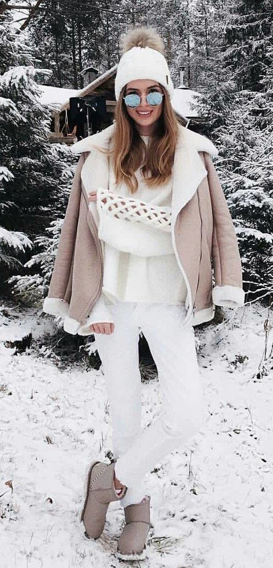 #winter #outfits beige zip-up jacket and white pants