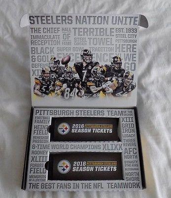 Pittsburgh Steelers 2016 Season Ticket Holders Kit and Ticket Stubs