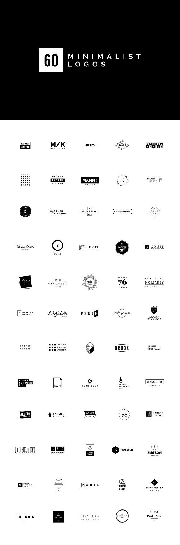 60 Minimalist Logos by vuuuds on @creativemarket