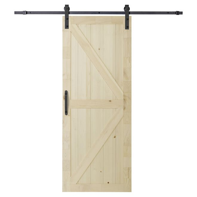 "Sliding Door with Rail and Handle - 37"" x 84'' - Natural"