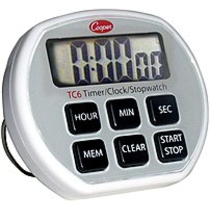 Cooper 10-TC6-0-8 TC6 Digital Timer-Clock-Stopwatch - Silver