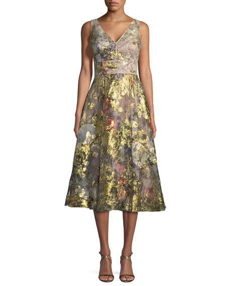Get free shipping on Rickie Freeman for Teri Jon Floral V-Neck A-Line Midi Cocktail Dress at Neiman Marcus. Shop the latest luxury fashions from top designers.