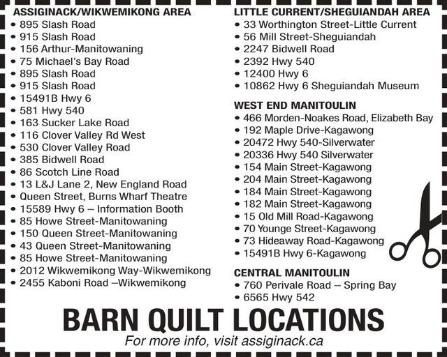 Barn Quilt Locations on Manitoulin Island
