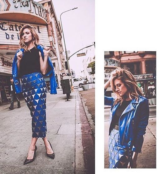Brittany Snow in retro glam blue leather jacket and skirt. Styled by Lindsey Dupuis.