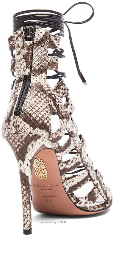 AQUAZZURA Amazon Elaphe Snakeskin Sandals in Roccia