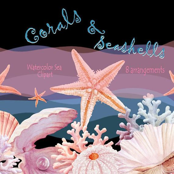 Watercolour Hand Painted Sea clipart arrangement with