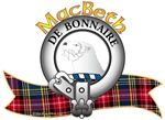 "MacBeth Clan Crest and Tartan ""An otter's head erased Argent"". MacBeth Clan Motto is ""De bonnaire"", translated as ""Gracious"". MacRory Mor"