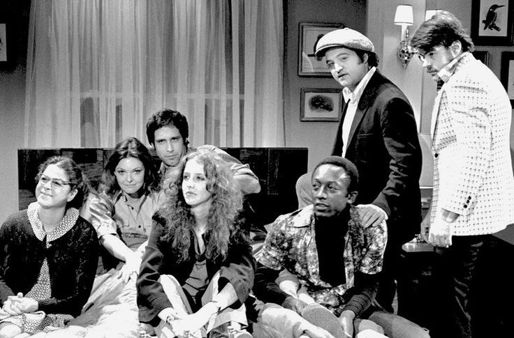 "The original 1975 ""Saturday Night Live"" cast: from left, Gilda Radner, Jane Curtin, Chevy Chase, Laraine Newman, Garrett Morris, John Belushi and Dan Aykroyd."