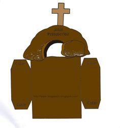 Escolinha Bíblica da Garotada: Ótima sugestão para lembrancinha de páscoa!!!......(Caixinha Jesus ressuscitou)... é só desenhar em cartolina marrom, recortar e colar e pronto, agora é só colocar dentro algumas guloseimas e distribuir para a garotada!!!...