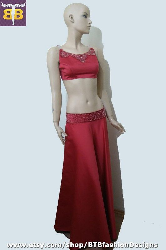 Red bustier skirt suit, red satin long skirt, red embroidery bustier top, red satin dress, red satin dance dress, red beaded satin dress by BTBfashionDesigns on Etsy