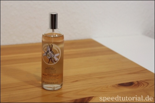 Körperspray von The Body Shop -  http://speedtutorial.de/2012/09/vanilla-body-mist-the-bodyshop/