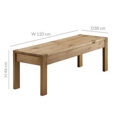Emerson Solid Pine Rustic Wooden Dining Table Bench