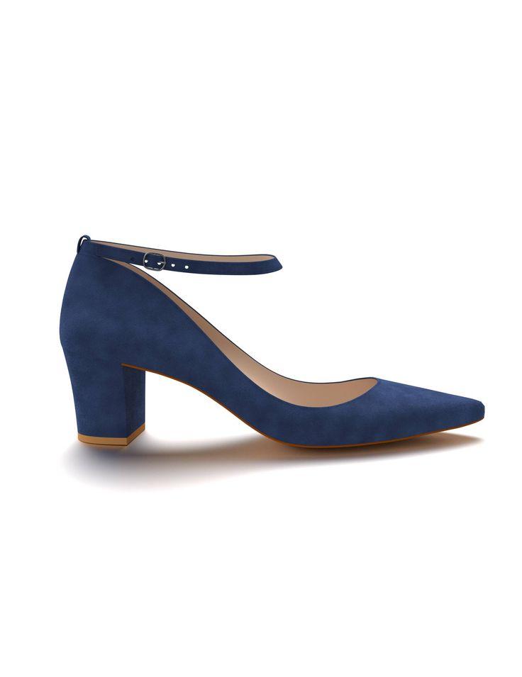 David Jones - Shoes of Prey Dark Blue Block Heel Court Shoe with Strap