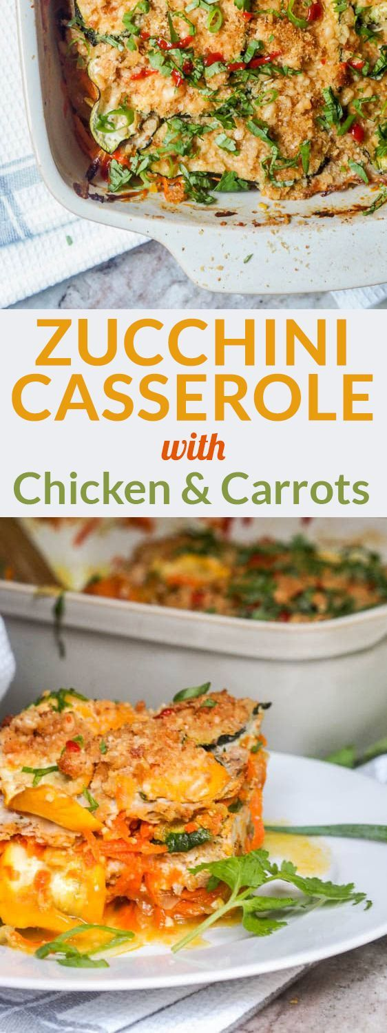 Zucchini casserole with chicken and carrots makes for the perfect low carb, high protein meal. Paleo, gluten-free and dairy-free while also being packed with veggies. The ultimate dinner to feed a crowd. Only 4 key ingredients required.